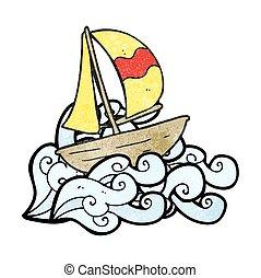 textured cartoon sail ship