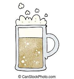 textured cartoon tankard of beer