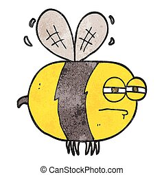 textured cartoon unhappy bee - freehand textured cartoon...
