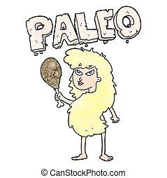 textured cartoon woman on paleo diet - freehand textured...