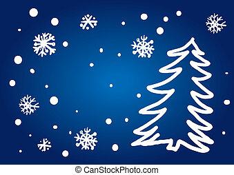 freehand, träd, jul, (illustration)