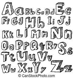 freehand, vektor, betűtípus