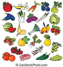 freehand, verdura, frutte