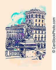 freehand watercolor travel card from Rome Italy
