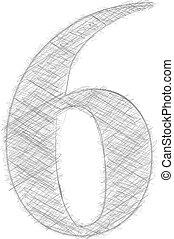 freehand, zahl, typographie, 6