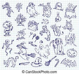 freehand, zeichnung, halloween
