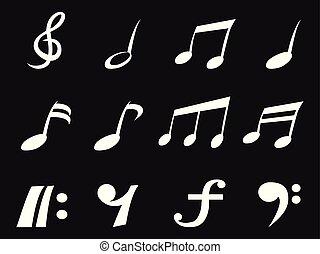 freehead, nota, branca, música, ícones