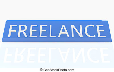 Freelance - 3d render blue box with text on it on white...