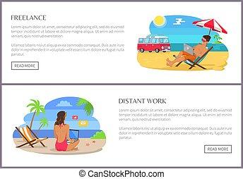 Freelance and Distant Work Set Vector Illustration