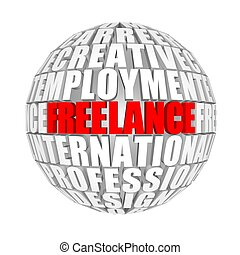 freelance - circle words on the ball on the topics