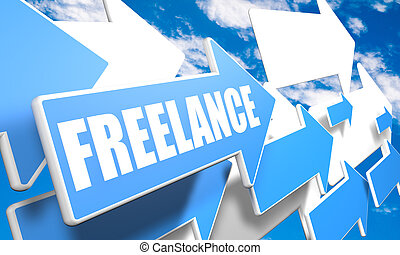 Freelance - 3d render concept with blue and white arrows...