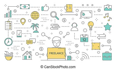 Freelance concept. Idea of working remotely as designer