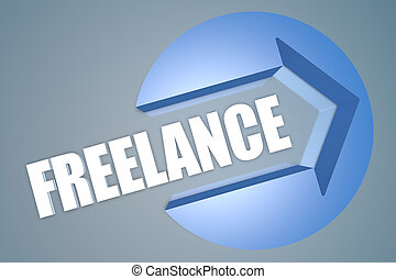 Freelance - text 3d render illustration concept with a arrow...