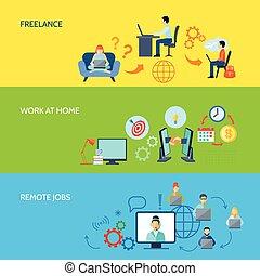 Freelance Flat Color Banner Set - Freelance online work at...