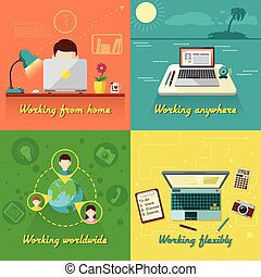Freelance flat set - Freelance design concept set with...