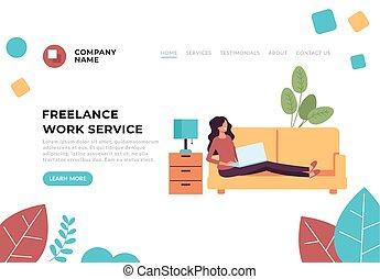 Freelance home work service concept. Vector flat cartoon graphic design illustration