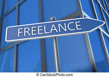 Freelance - illustration with street sign in front of office...