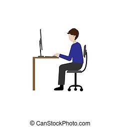 freelance, ilustração, profissão, empregado, desenho, ou
