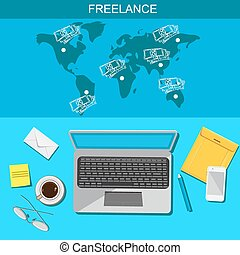 Freelance, infographic, template, vector, flat