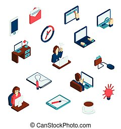 freelance, komplet, isometric, ikony