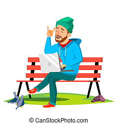 Freelance, Man Sitting On Bench In The Park With Laptop Vector. Isolated Illustration
