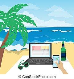 Freelance on the beach.