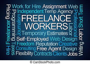 freelance, palavra, trabalhadores, nuvem
