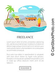 Freelance Poster with Push Button Read More, Woman