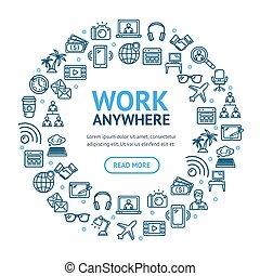 freelance, praca, okrągły, wektor, projektować, cienki, szablon, znaki, kreska, concept., ikona
