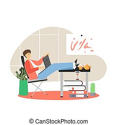 Freelance, remote work from home, flat vector illustration. Young man working on laptop sitting at table in living room.