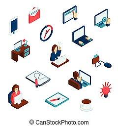 freelance, set, isometric, iconen
