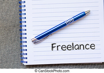 Freelance text concept on notebook