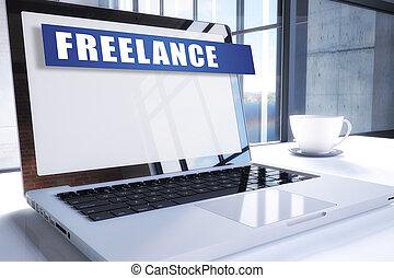 Freelance text on modern laptop screen in office...