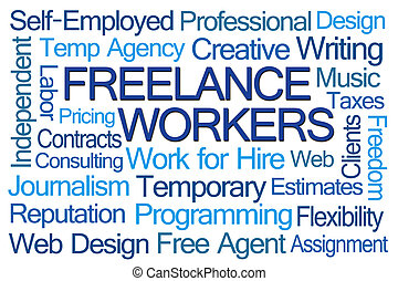 freelance, trabalhadores, palavra, nuvem