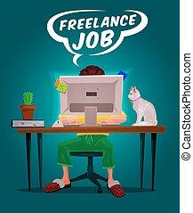freelance, vetorial, ilustração, homem