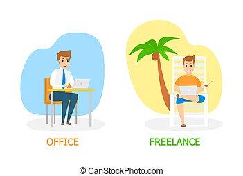 Freelance vs. office work concept illustration