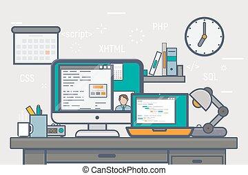 Freelance website development - Line concept illustration....