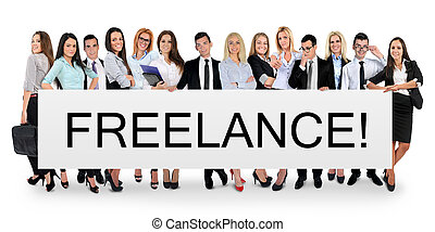 Freelance word on banner - Freelance word writing on white...