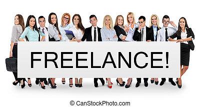 Freelance word on banner - Freelance word writing on white...