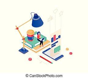 Freelance worker - modern colorful isometric vector illustration