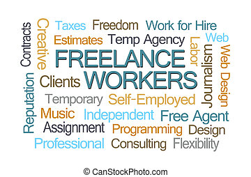 Freelance Workers Word Cloud on White Background