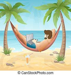 freelancer, aan het strand