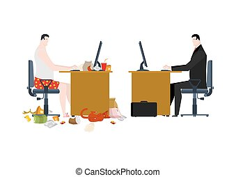 Freelancer and manager in business office. Work at home and working in job. Vector illustration