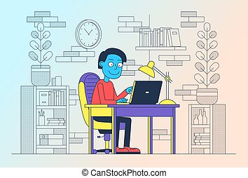 Freelancer at work with laptop on table