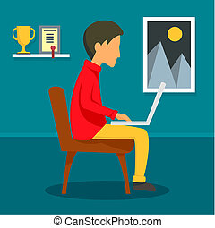 Freelancer boy at home concept background, flat style