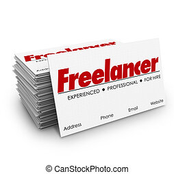 Freelancer Business Cards Independent Contractor for Hire -...
