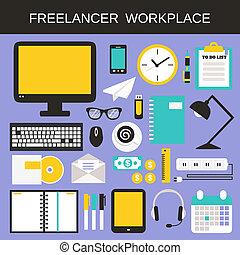 freelancer, conjunto, lugar de trabajo, iconos