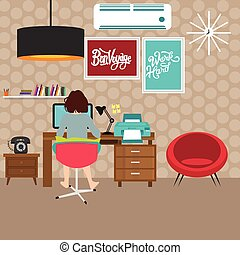 freelancer girl woman working on work-space home wall wit h poster table in front of computer