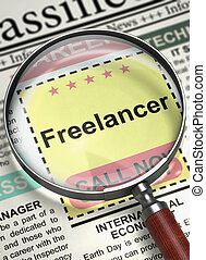 Freelancer Join Our Team. 3D. - Column in the Newspaper with...