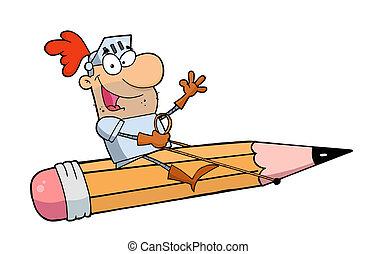 Man Riding A Giant Pencil
